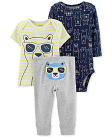 Carter's Baby Boys 3-Pc. Cotton Bears Striped T-Shirt, Printed Bodysuit & Pants Set