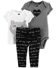 Carter's Baby Girls 3-Pc. Cotton Bear-Print T-Shirt, Striped Bodysuit & Ruffled Pants Set