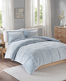Intelligent Design Carson King or California King Reversible Frosted Print Plush To Heathered Micofiber 3-Piece Comforter Set