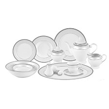 Lorren Home Trends Alina Silver 57-PC Dinnerware Set, Service for 8