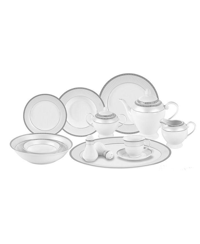 Lorren Home Trends - 57 Piece Porcelain Dinnerware Set, Service for 8