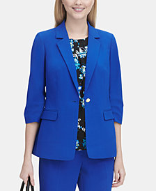 Calvin Klein 3/4-Sleeve Single-Button Blazer