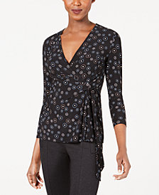 Anne Klein Printed Faux-Wrap 3/4-Sleeve Top