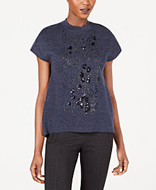 Anne Klein Embellished Mock-Neck Sweater