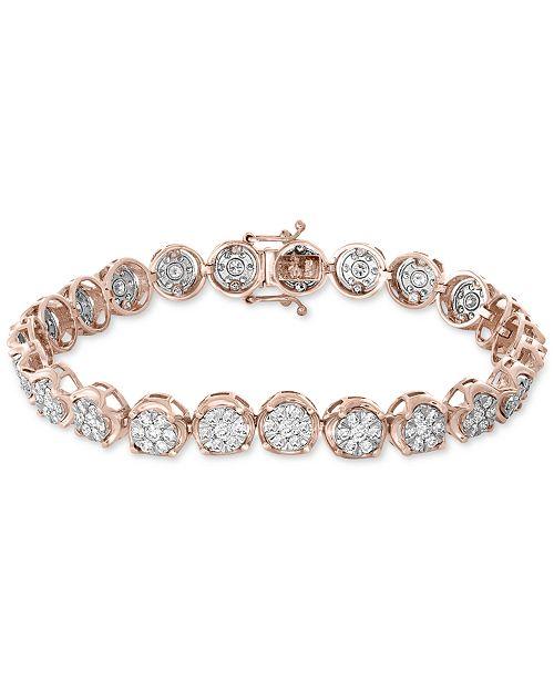 EFFY Collection EFFY® Diamond Cluster Link Bracelet (3-3/4 ct. t.w.) in 14k White & Rose Gold