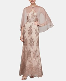 SL Fashions Sequined Bouquet Gown & Chiffon Capelet