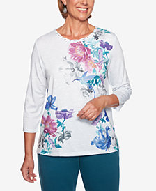 Alfred Dunner Comfortable Situations Hummingbird Printed Top