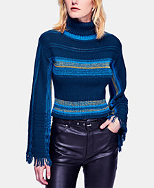 Free People Striped Flared-Sleeve Turtleneck Sweater