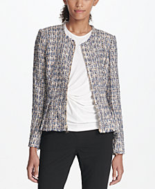 DKNY Zip-Front Tweed Peplum Jacket, Created for Macy's