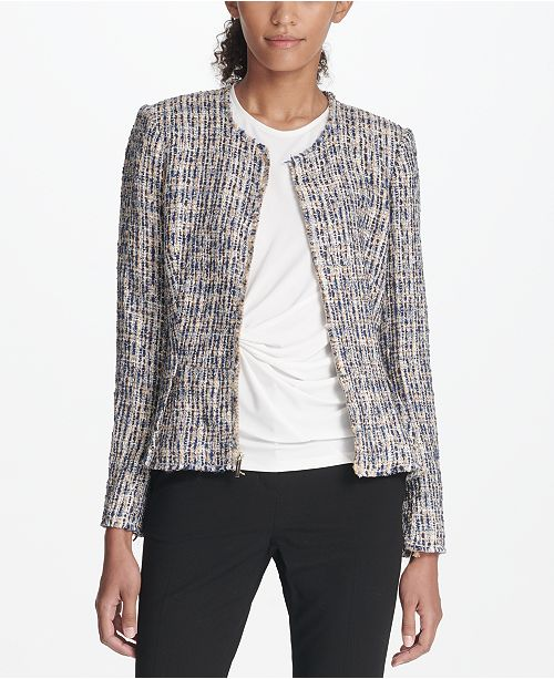 00b95508349e5 DKNY Zip-Front Tweed Peplum Jacket & Reviews - Jackets & Blazers ...