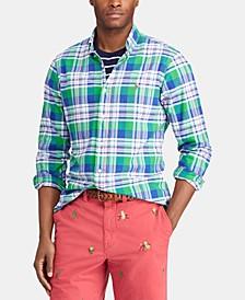 Men's Big & Tall Classic Fit Plaid Cotton Oxford Shirt