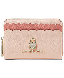 MICHAEL Michael Kors Scalloped Bicolor Pebble Leather Coin Card Case