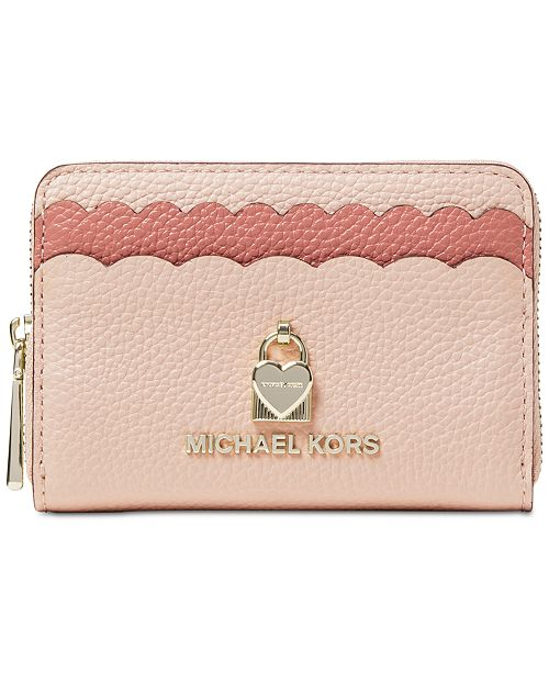 3ab9cd34bcb5a0 ... Michael Kors Scalloped Bicolor Pebble Leather Coin Card Case ...