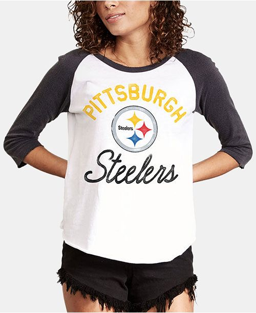 Authentic NFL Apparel Women s Pittsburgh Steelers Raglan T-Shirt ... 43eb6b932