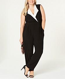 Trendy Plus Size Tuxedo Jumpsuit