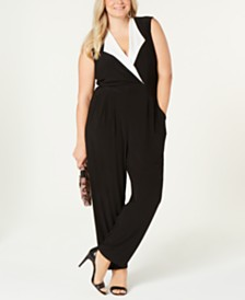 Love Squared Trendy Plus Size Tuxedo Jumpsuit