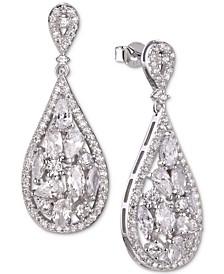 Cubic Zirconia Cluster Teardrop Drop Earrings in Sterling Silver