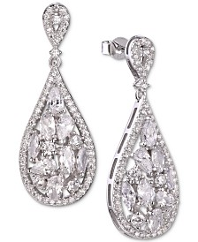 Tiara Cubic Zirconia Cluster Teardrop Drop Earrings in Sterling Silver