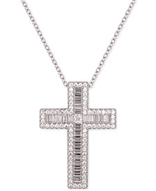 "Tiara Cubic Zirconia Cross 18"" Pendant Necklace"