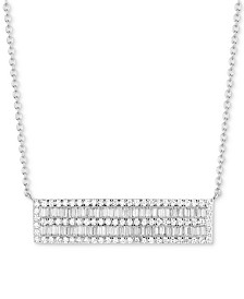 "Tiara Cubic Zirconia Horizontal Bar 18"" Pendant Necklace in Sterling Silver"