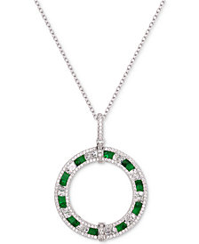"""Tiara Cubic Zirconia Circle 18"""" Pendant Necklace in Sterling Silver"""