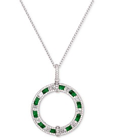 "Tiara Cubic Zirconia Circle 18"" Pendant Necklace in Sterling Silver"
