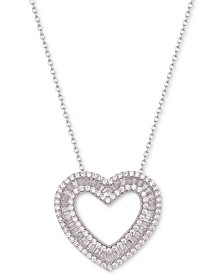 "Tiara Cubic Zirconia Baguette Heart 18"" Pendant Necklace in Sterling Silver"