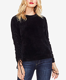 Vince Camuto Velour Ruched Tie-Sleeve Top