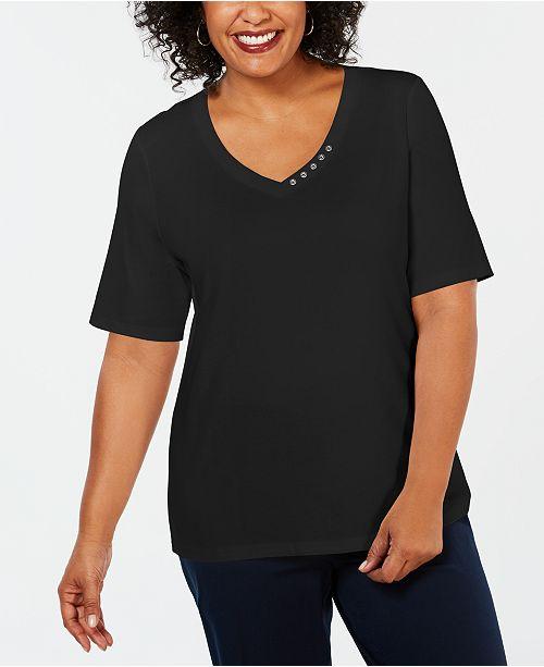 Karen Scott Plus Size Cotton V-Neck Top, Created for Macy's