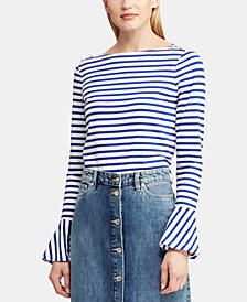 Lauren Ralph Lauren Petite Bell-Sleeve Cotton Top