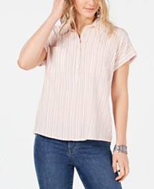 Style & Co Striped Chest-Pocket Casual Top, Created for Macy's