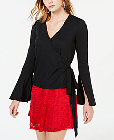 Material Girl Juniors' Surplice Wrap Top, Created for Macy's