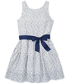 Polo Ralph Lauren Big Girls Floral-Print Fit & Flare Cotton Dress