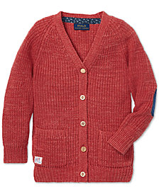 Polo Ralph Lauren Little Girls Elbow-Patch Cotton Boyfriend Cardigan
