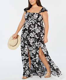Raviya Plus Size Printed Maxi Dress Cover-Up