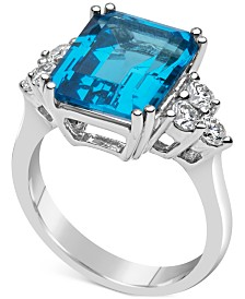Blue Topaz (8 ct. t.w.) & Diamond (1/2 ct. t.w.) Ring Set in 14k White Gold