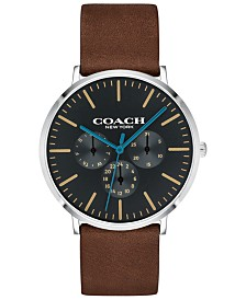 COACH Men's Varick Mahogany Leather Strap Watch 40mm