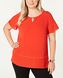 JM Collection Plus Size High-Low Stud-Accented Top, Created for Macy's