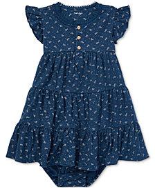 Polo Ralph Lauren Baby Girls Floral-Print Cotton Flutter-Sleeve Dress