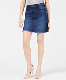 Hudson Jeans Lulu Lace-Up Denim Skirt