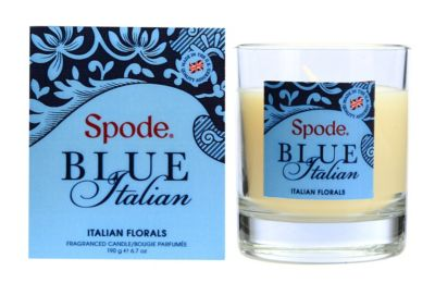 Blue Italian Wax Filled Glass Candle