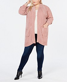 Plus Size Open-Front Chenille Cardigan