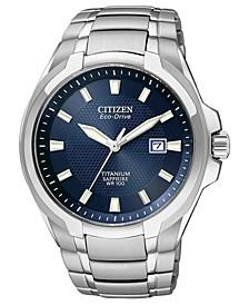 Men's Eco-Drive Silver-Tone Titanium Bracelet Watch 42mm BM7170-53L