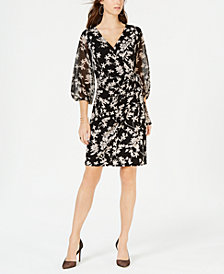 I.N.C. Petite Balloon-Sleeve Faux-Wrap Dress, Created for Macy's