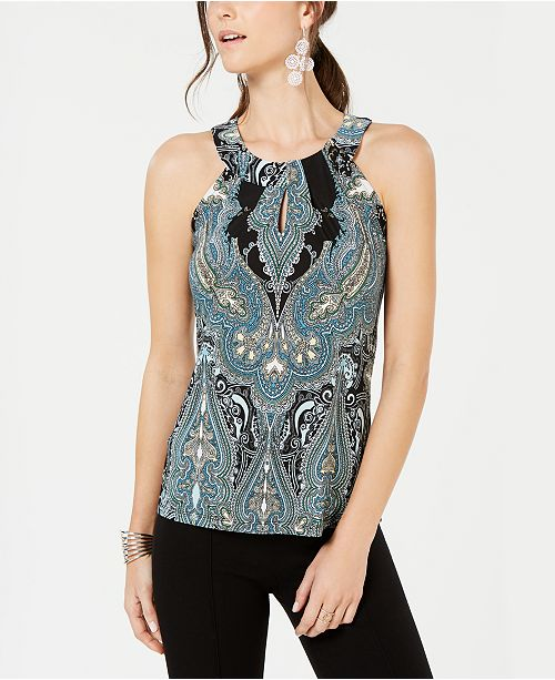 INC International Concepts I.N.C. Petite Printed Keyhole Top, Created for Macy's