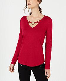 I.N.C. Embellished V-Neck Top, Created for Macy's