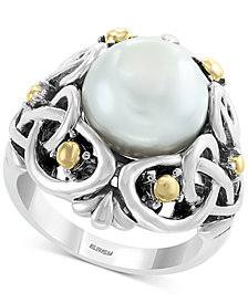 EFFY® Cultured Freshwater Pearl (11mm) Statement Ring in Sterling Silver & 18k Gold Over Silver