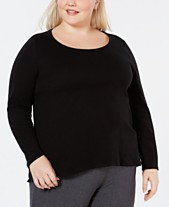 07c3a66c3b Eileen Fisher Plus Size Scoop-Neck Organic Cotton Top