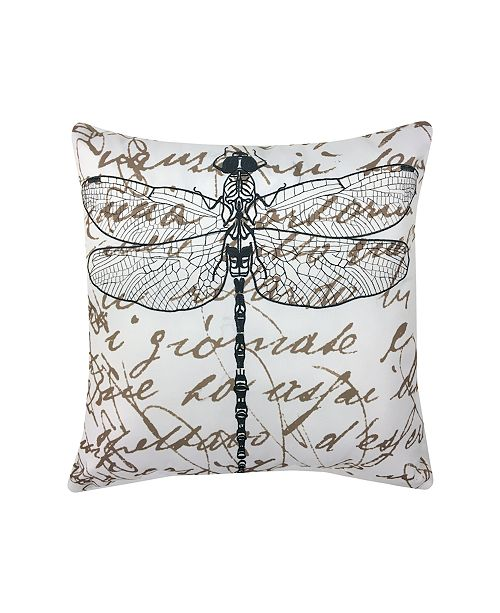 Edie@Home Embroidered Dragonfly Outdoor Pillow