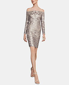 BCBGMAXAZRIA Eunice Embellished Off-The-Shoulder Dress